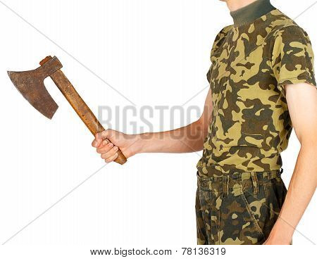 Soldier In Uniform With An Ax In The Hands