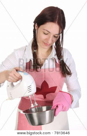 Housewife Preparing With Kitchen Mixer