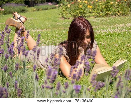 woman in lavender