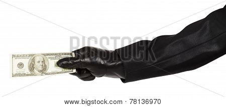 Hand In Black Glove Holding Money