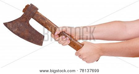 Old Ax In Female Hands