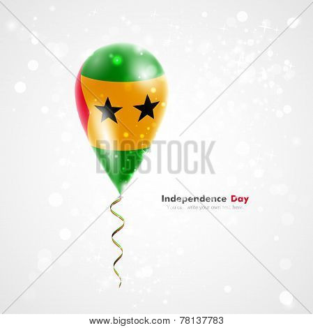 Flag of Sao Tome and Principe on balloon
