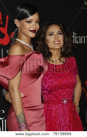 LOS ANGELES - DEC 11:  Rihanna, Salma Hayek at the Rihanna's First Annual Diamond Ball at the The Vineyard on December 11, 2014 in Beverly Hills, CA