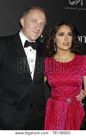 LOS ANGELES - DEC 11:  Francois-Henri Pinault, Salma Hayek at the Rihanna's First Annual Diamond Ball at the The Vineyard on December 11, 2014 in Beverly Hills, CA