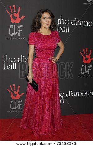 LOS ANGELES - DEC 11:  Salma Hayek at the Rihanna's First Annual Diamond Ball at the The Vineyard on December 11, 2014 in Beverly Hills, CA