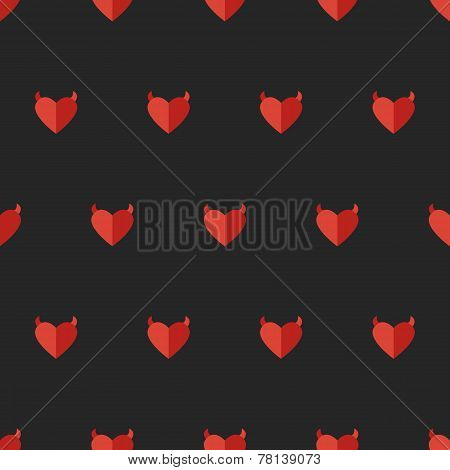 Vector flat devil heart seamless pattern