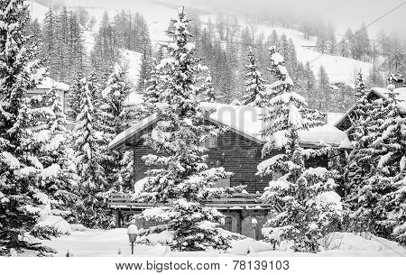 Mountain lodge in the snow