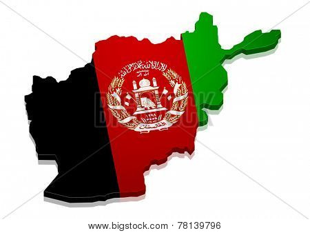 detailed illustration of a map of Afghanistan with flag, eps10 vector