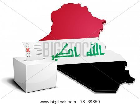 detailed illustration of a ballotbox in front of a map of Iraq, eps10 vector