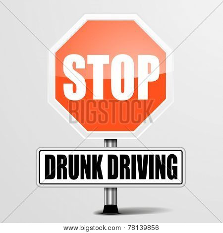 detailed illustration of a red stop drunk driving sign, eps10 vector