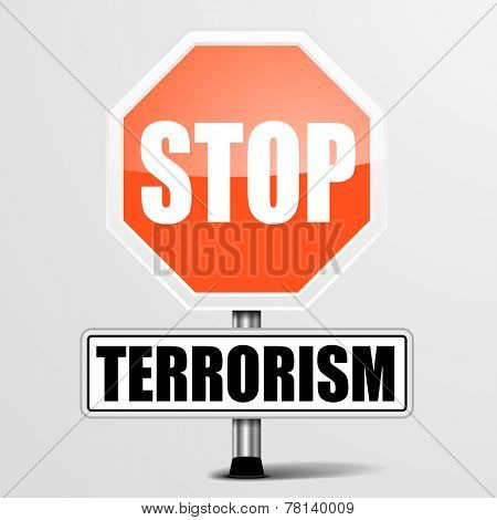 detailed illustration of a red stop terrorism sign, eps10 vector