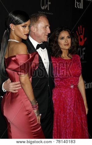 LOS ANGELES - DEC 11:  Rihanna, Francois-Henri Pinault, Salma Hayek at the Rihanna's First Annual Diamond Ball at the The Vineyard on December 11, 2014 in Beverly Hills, CA