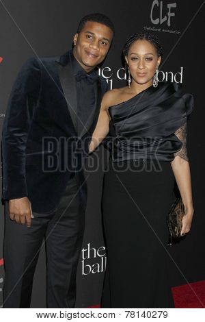 LOS ANGELES - DEC 11:  Cory Hardrict, Tia Mowry-Hardrict at the Rihanna's First Annual Diamond Ball at the The Vineyard on December 11, 2014 in Beverly Hills, CA