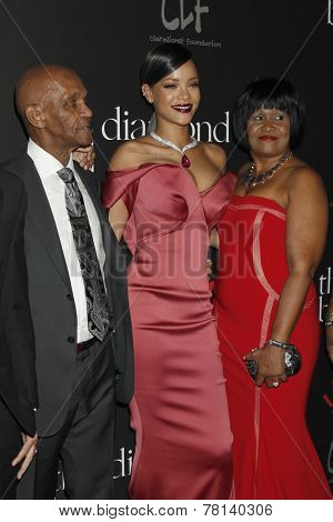 LOS ANGELES - DEC 11:  Lionel Braithwaite , Rihanna, Monica Braithwaite at the Rihanna's First Annual Diamond Ball at the The Vineyard on December 11, 2014 in Beverly Hills, CA