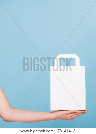 White Paper Shopping Bag With Copy Space On Hand