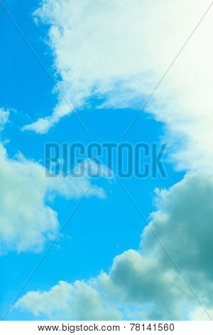 Deep Blue Sky Background With White Clouds