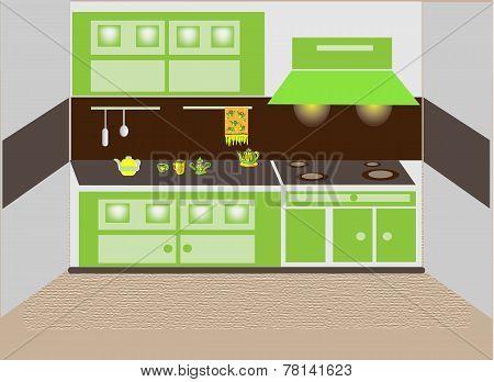 Interior of kitchen.