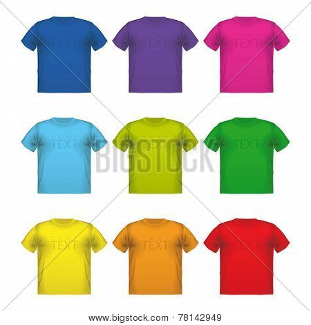 Set of colorful male t-shirts Vector wear printing isolated