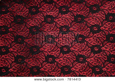 Black Lace On Red Satin