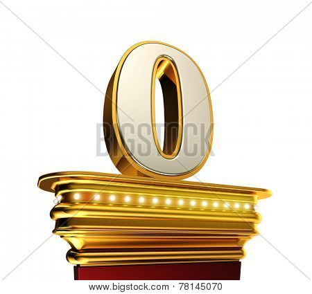 Number Zero on a golden platform with brilliant lights over white background