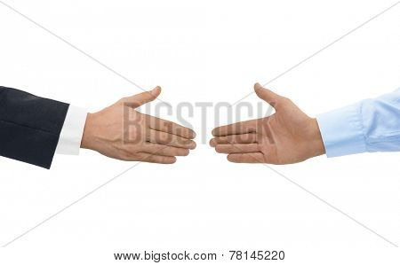 Two hands before handshake isolated on white background