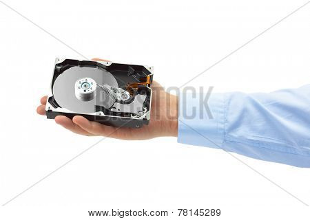 Hand and computer hard drive isolated on white background