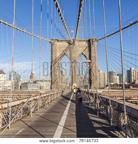 People At Brooklyn Bridge In New York