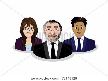 Three business people icons