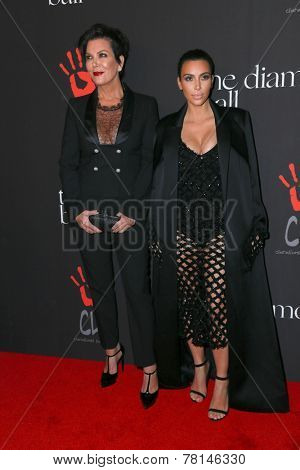 LOS ANGELES - DEC 11:  Kris Jenner, Kim Kardashian at the Rihanna's First Annual Diamond Ball at the The Vineyard on December 11, 2014 in Beverly Hills, CA