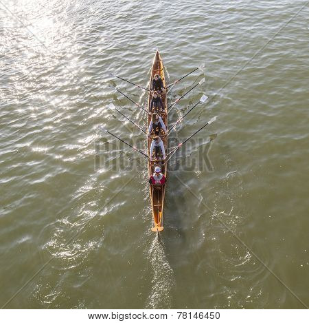 Boat Team Trains At River Main