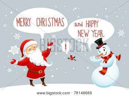 Santa Claus and snowman greetings. Winter holiday card.