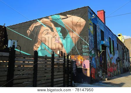 Mural art at East Williamsburg in Brooklyn