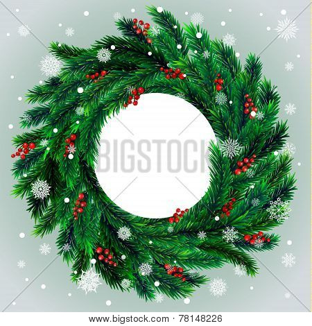 Christmas wreath with red berries