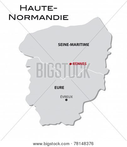 Simple Administrative Map Upper Normandy
