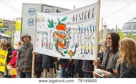 Paris. Demonstration Of Vegetarians.