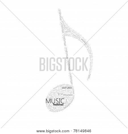 vector music illustration of a music note sign made of different fonts. typographical or lettering c