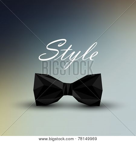 vector illustration of a black bow tie in low-polygonal style. men fashion style concept