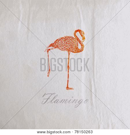 vector vintage illustration of a pink flamingo on the old wrinkled paper texture