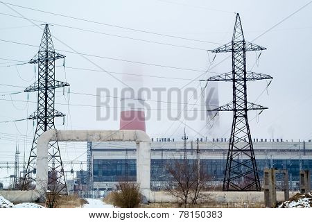 Supports High-voltage Line In The Fog