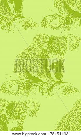 vector vintage illustration of a koala bear. seamless animal pattern