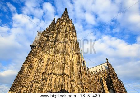 Facade Of The Dom Church In The City Cologne Lit By Sun