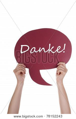 Red Speech Balloon With German Danke