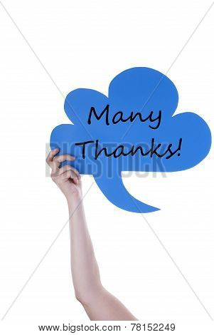 Blue Speech Balloon With Many Thanks