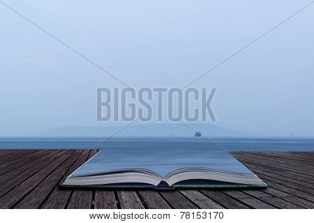 Image Of Single Freight Boat In Open Sea With Vast Open Space Conceptual Book Image