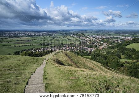 View From Top Of Glastonbury Tor Overlooking Glastonbury Town In England
