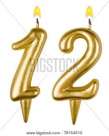 Birthday Candles Number Twelve Isolated