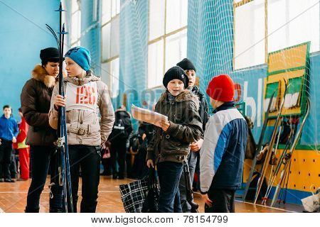 Unrecognizable Belarusian Secondary School Pupils Preparing For