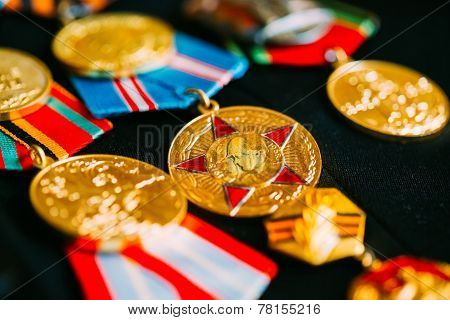 Anniversary Medals Of A Victory In The Great Patriotic War On Coat