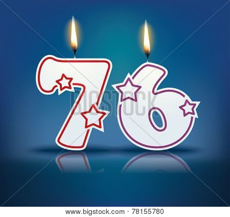 Birthday candle number 76 with flame - eps 10 vector illustration
