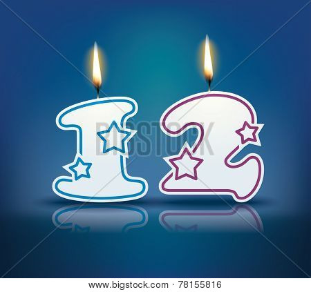 Birthday candle number 12 with flame - eps 10 vector illustration